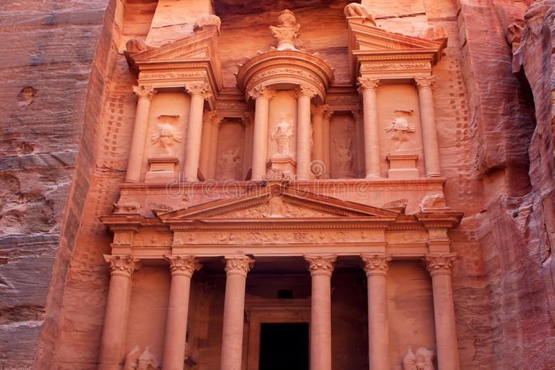 Al-Khazneh temple in Petra, Jordan. Al-Khazneh temple in the ancient Arab Nabatean Kingdom city of Petra, Jordan royalty free stock photos