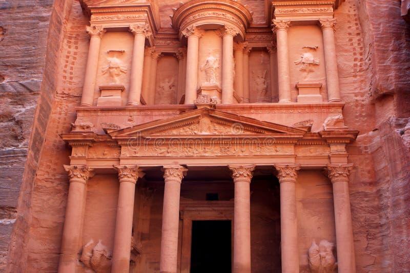Al-Khazneh temple in Petra, Jordan. Al-Khazneh temple in the ancient Arab Nabatean Kingdom city of Petra, Jordan royalty free stock photography