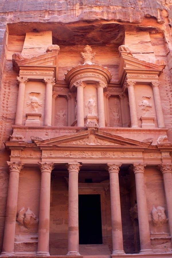 Al-Khazneh temple in Petra, Jordan. Al-Khazneh temple in the ancient Arab Nabatean Kingdom city of Petra, Jordan stock photo