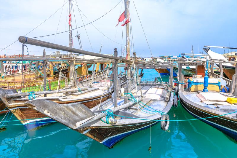 Fishing boats dhows royalty free stock photography