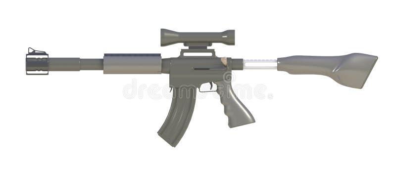 Al lado de la vista del rifle automático aislada en el fondo blanco ilustración del vector