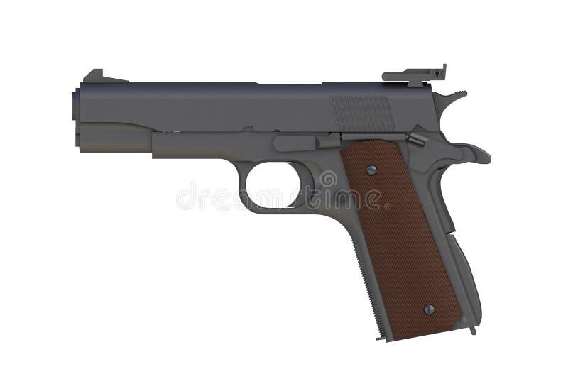 Al lado de vista del hierro mate M1911 semiautomático pistola de 45 calibres aislada en el fondo blanco stock de ilustración
