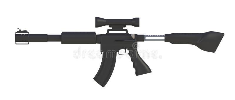 Al lado de vista del rifle automático negro aislado en el fondo blanco ilustración del vector
