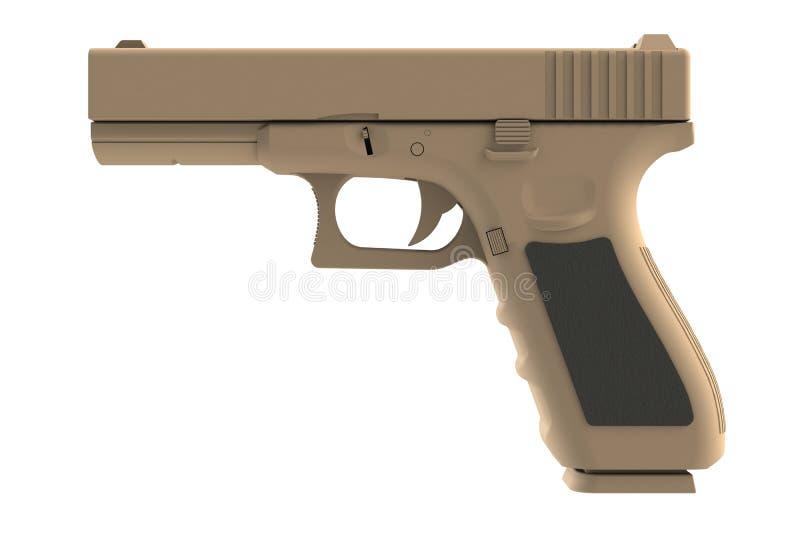 Al lado de vista de la arma de mano semi automática marrón 9x19 aislada en el fondo blanco ilustración del vector
