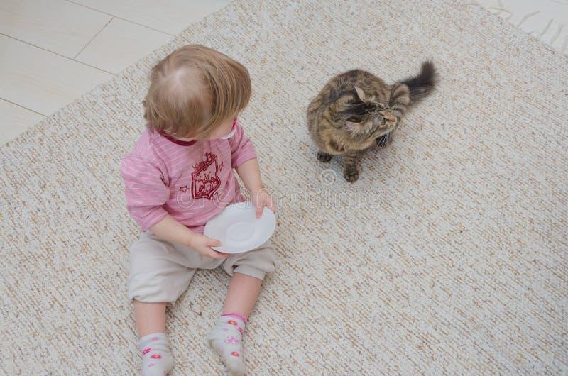 Al lado del gato en el piso sienta a un niño, la muchacha quiere a la tarifa imagenes de archivo