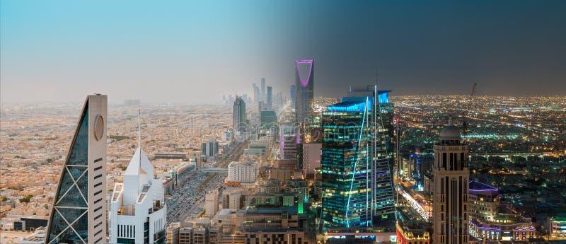Al-Mamlaka de Burj del paisaje de la Arabia Saudita Riad en medio d?a y noche - centro del reino de la torre de Riad, torre del r imagen de archivo