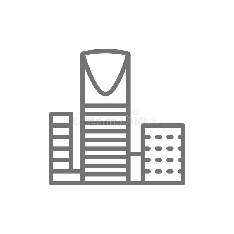 Al-Mamlyak de Burj, centro del reino, línea icono del rascacielos stock de ilustración