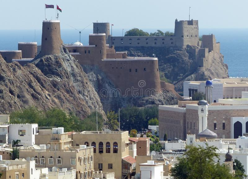 Al Marani and Al Jalali forts, Muscat. The two forts guard the old city of Muscat, one on each headland of the bay royalty free stock photos