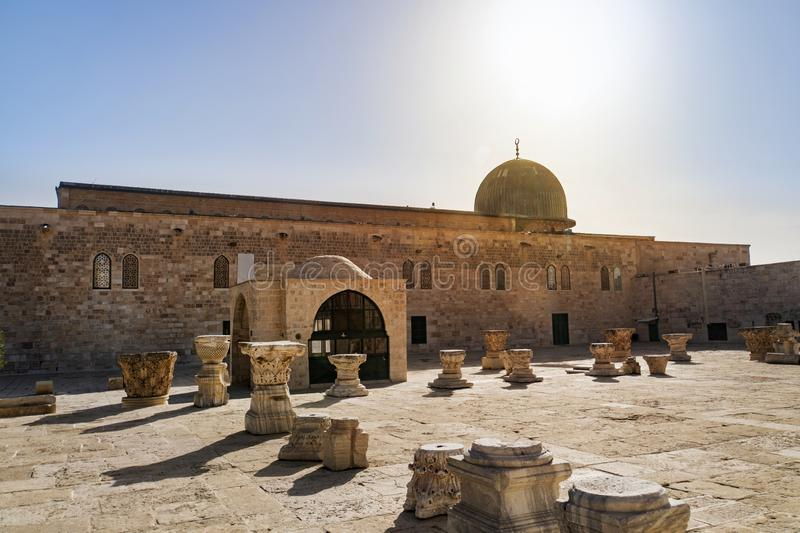 Al-Masjid al-Aqsa is a mosque located on temple mount of Jerusalem. Is the third holiest site in Islam after Masjid al-Haram in royalty free stock photo