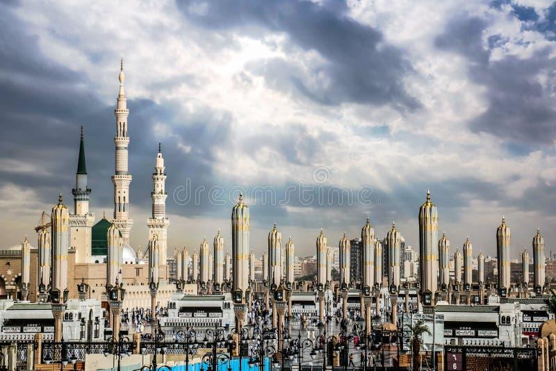 Al-Masjidanen-Nabawi i Medina kallade ocks? Profet Muhammad Mosque Roza-e-Rasool PBUH, Saudiarabien fotografering för bildbyråer