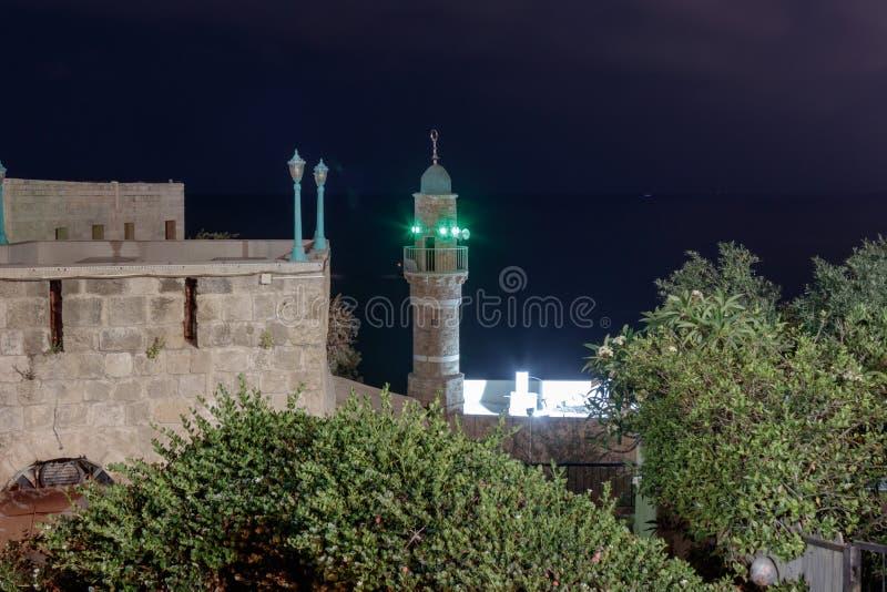 al Meczetowa noc w starym mieście Yafo, Izrael obrazy royalty free