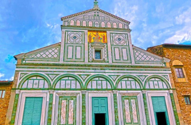 Al Monte van San Miniato is een basiliek in Florence, Italië stock afbeelding