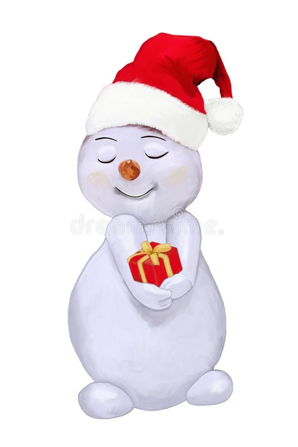Al Natale, un pupazzo di neve piacevole vi dà un regalo Pittura illustrazione di stock