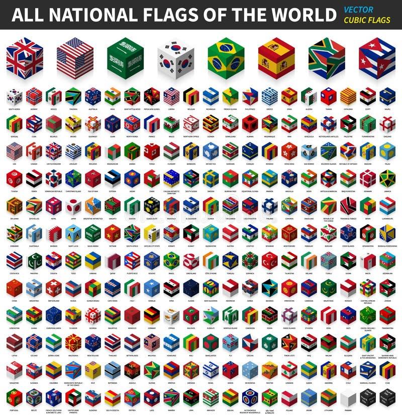 Al nationale vlag van de wereld Kubiek isometrisch hoogste ontwerp Vector vector illustratie