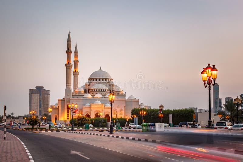 Al-Noor Mosque Sharjah UAE royaltyfri bild