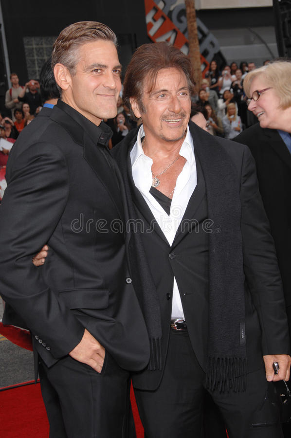 Al Pacino, George Clooney. George Clooney & Al Pacino at the North American premiere of Ocean's Thirteen at Grauman's Chinese Theatre, Hollywood. June 6, 2007 stock photography