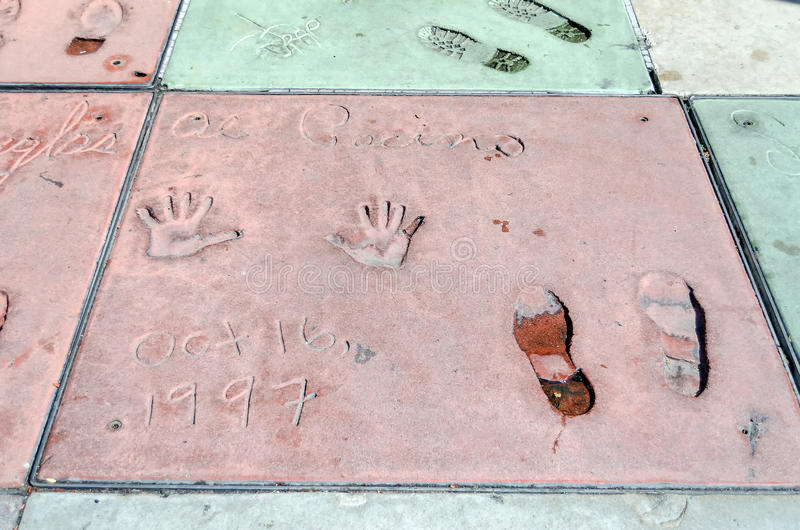 Al Pacino handprints in Hollywood-Boulevard, Los Angeles stock foto