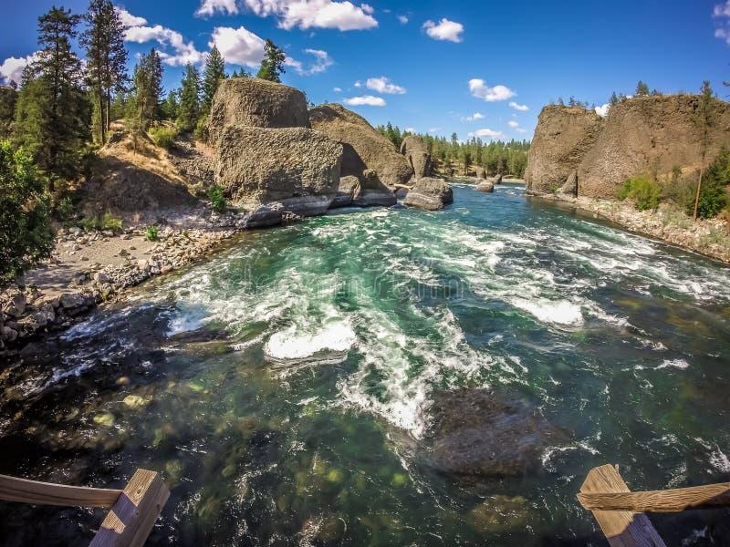 Al parco di stato della ciotola e del lanciatore della riva del fiume a Spokane Washington fotografie stock libere da diritti