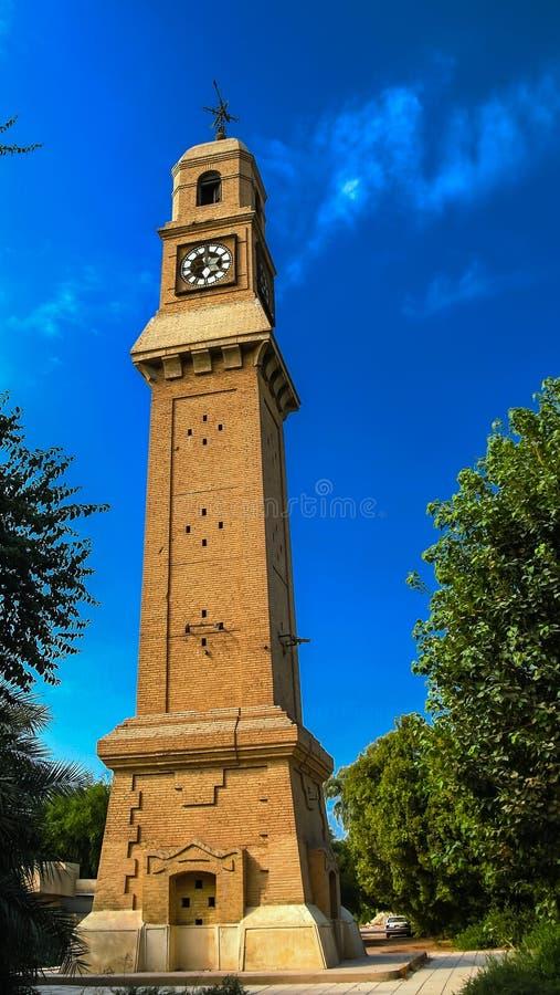 Al-Qashla Clock clocktower Baghdad Iraq. Exterior view to Al-Qashla Clock clocktower Baghdad, Iraq royalty free stock photos