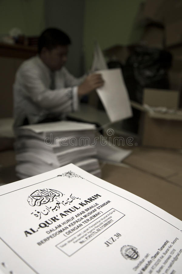 Al Quran Braille Maker in Indonesia royalty free stock image