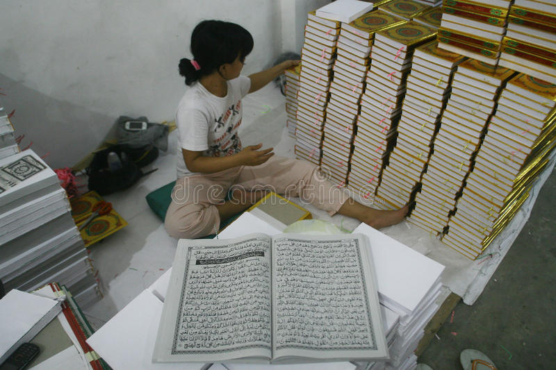 Al Quran Production In Indonesia royalty free stock photography