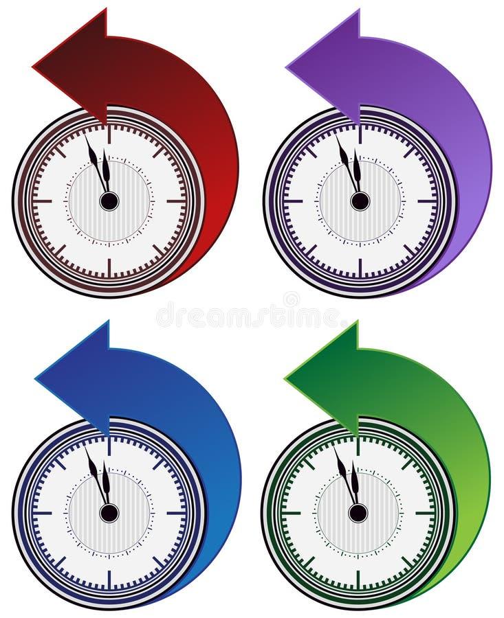 Al revés conjunto de la flecha del reloj libre illustration