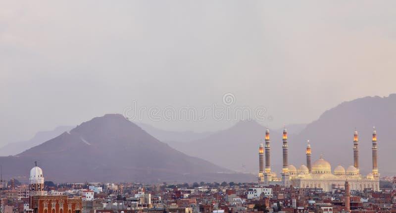 Al Saleh Meczet w Sanaa, Jemen fotografia royalty free