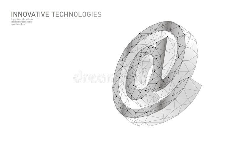 Al segno sociale di media del email Poli 3D basso poligonale alla notifica di simbolo nell'appello personale del messaggero Onlin royalty illustrazione gratis