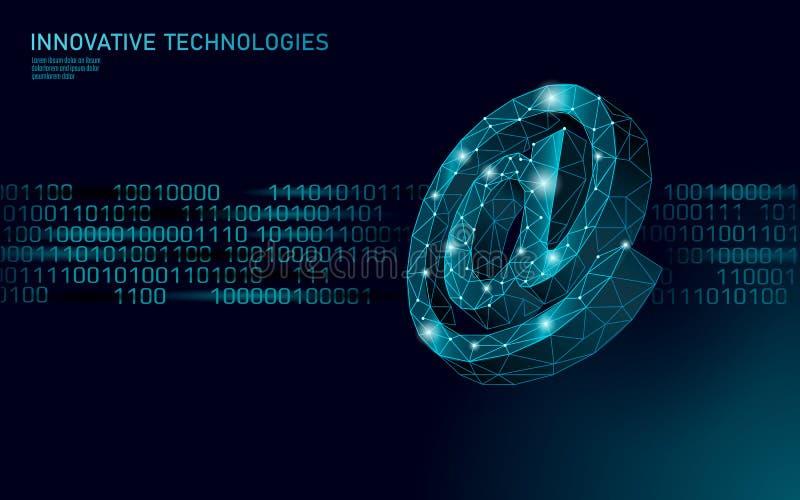Al segno sociale di media del email Poli 3D basso poligonale alla notifica di simbolo nell'appello personale del messaggero Onlin illustrazione di stock