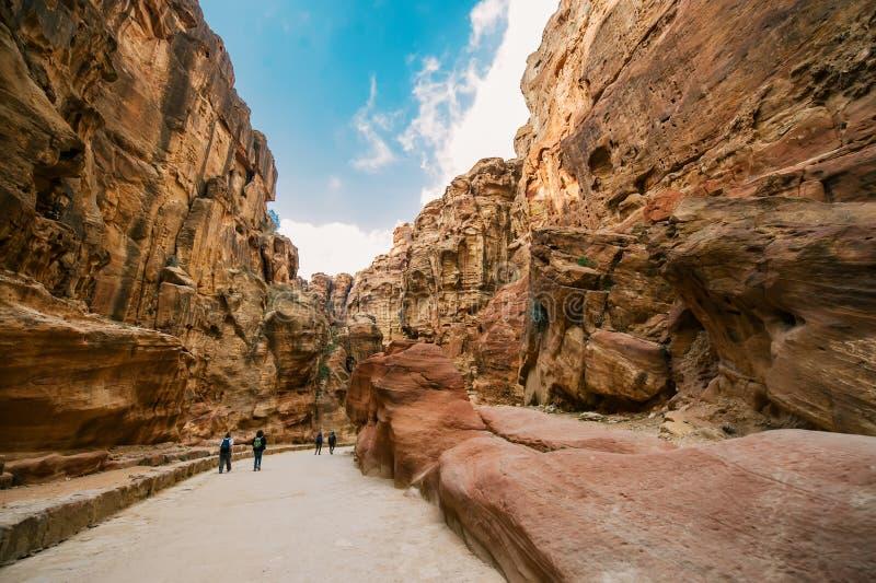 Al-Siq dans PETRA, Jordanie images stock