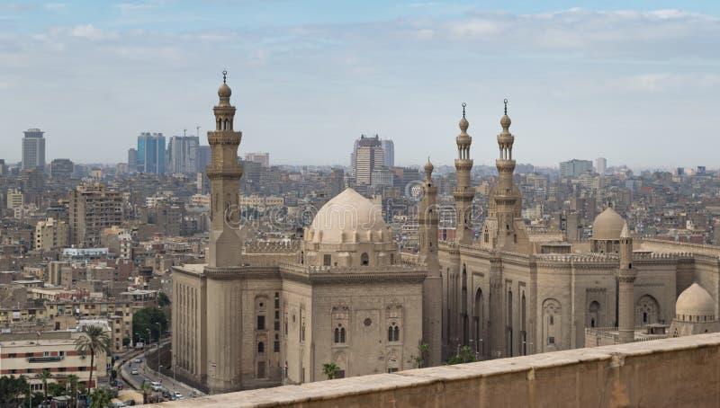 Al Sultan Hasan e Al Rifaii Mosques, Il Cairo, Egitto fotografie stock libere da diritti