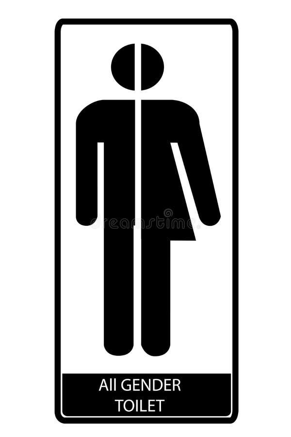 Al teken van het geslachtstoilet, bij witte achtergrond stock illustratie