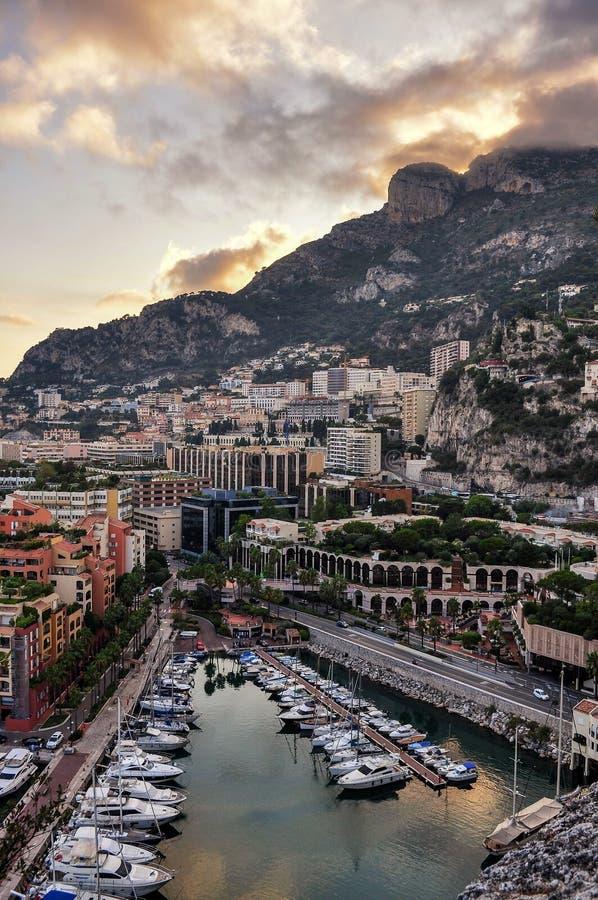 Al tramonto a Monte Carlo Francia immagini stock libere da diritti