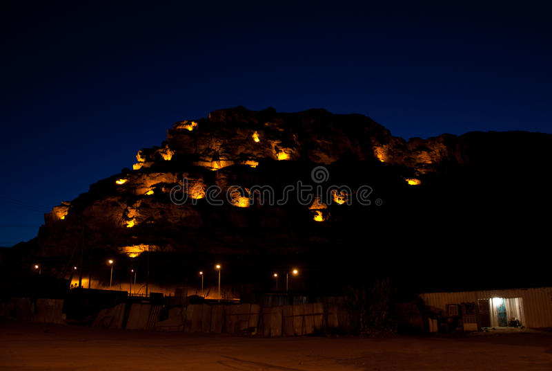 Al-Ula bij nacht stock fotografie
