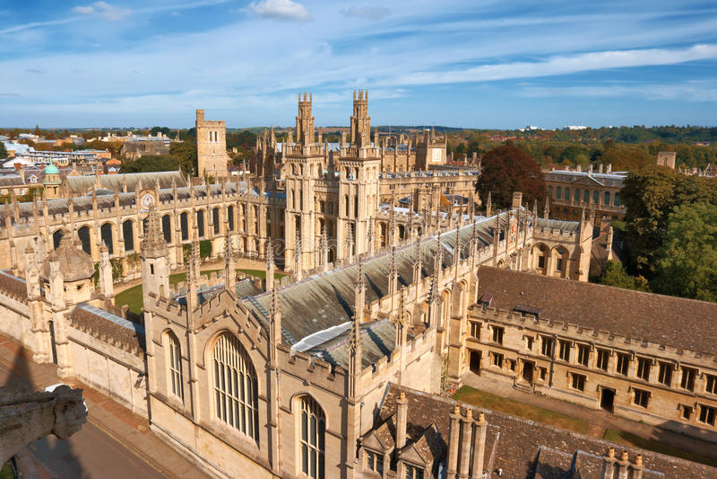 Al Universiteit van Zielen. Oxford, Engeland stock foto