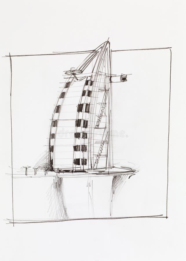 Al van Burj Arabisch hotel in Doubai royalty-vrije illustratie