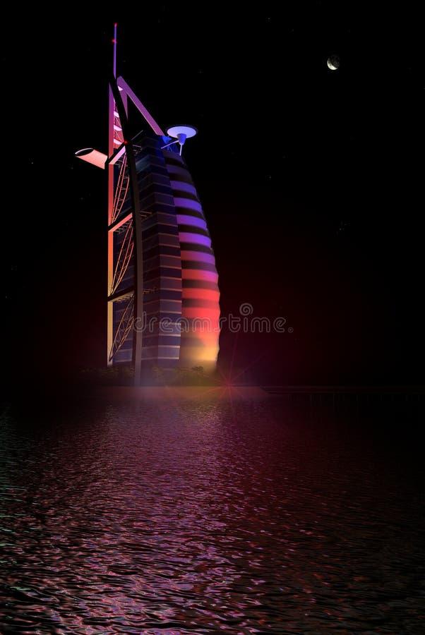 Al van Burj Arabische hotelmening bij nacht vector illustratie