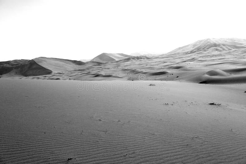 in al van de de woestijnoneffenheid van Oman oude khali het lege kwart en openlucht stock foto
