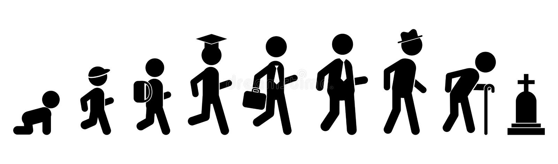 Al vlak pictogram van leeftijdenmensen Generatiesmensen Stadia van ontwikkeling royalty-vrije illustratie