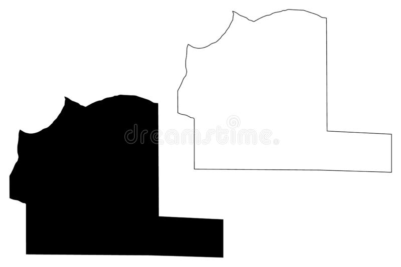Al Wahat District Districts of Libya, State of Libya, Cyrenaica map vector illustration, scribble sketch Al Wahat map.  stock illustration