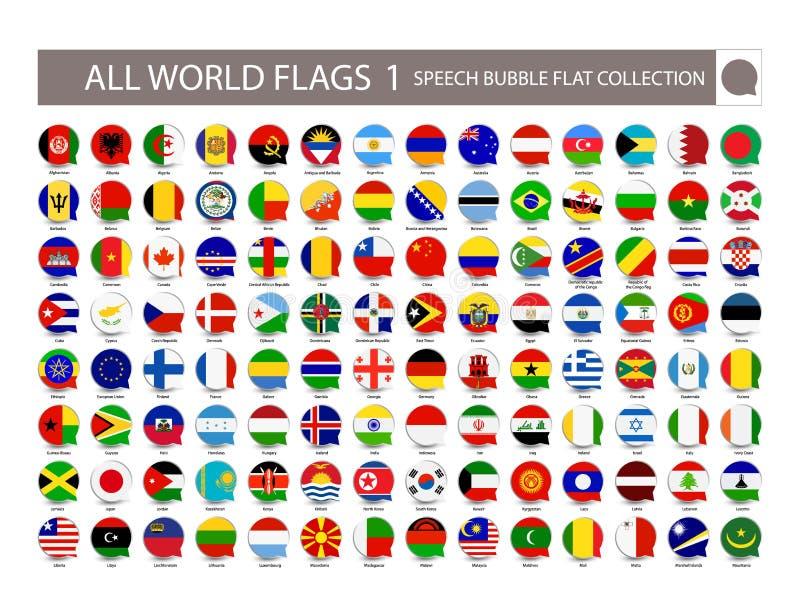 Al Wereld markeert de vlakke inzameling van de toespraakbel Deel 1 Al wereld royalty-vrije illustratie