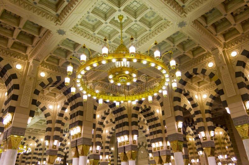 al wewnętrzny masjid medina meczetu nabawi fotografia royalty free