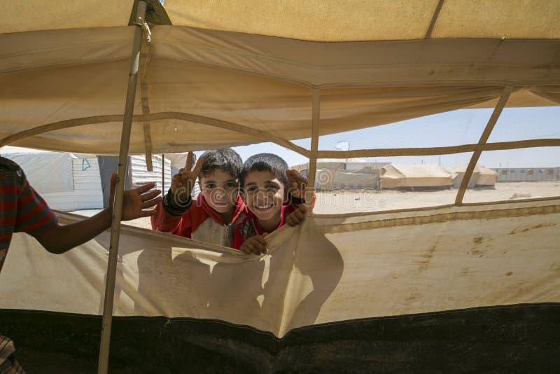 Al Zaatari obóz uchodźców fotografia royalty free