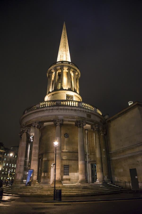 Al Zielenkerk, Langham Place, Londen, Engeland, het UK stock afbeeldingen