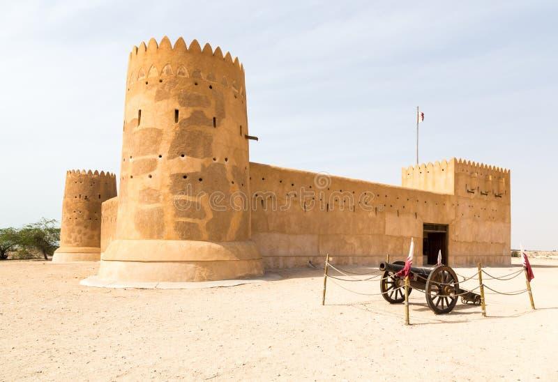 Al Zubara Fort Az Zubarah fort, historisk Qatari fästning, Qatar arkivbilder