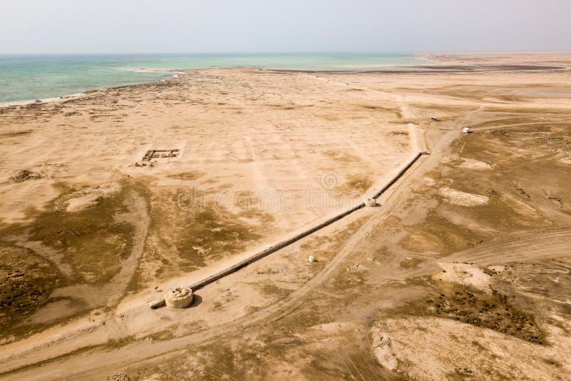 Al Zubarah Az Zubara, ciudad árabe antigua arruinada, costa del noroeste de la península de Qatar, Al Shamal Comercio, perla, pes imagen de archivo