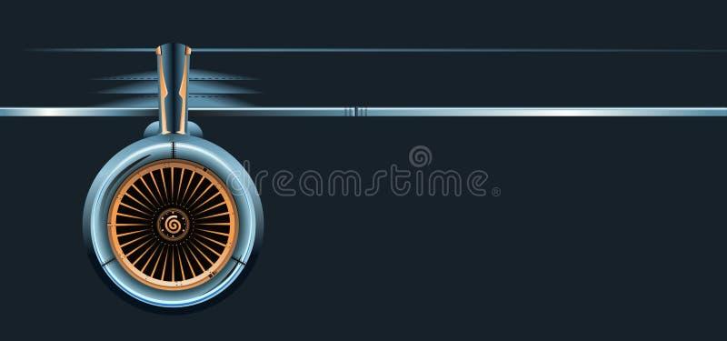 Ala con la turbina isolata su fondo scuro illustrazione di stock