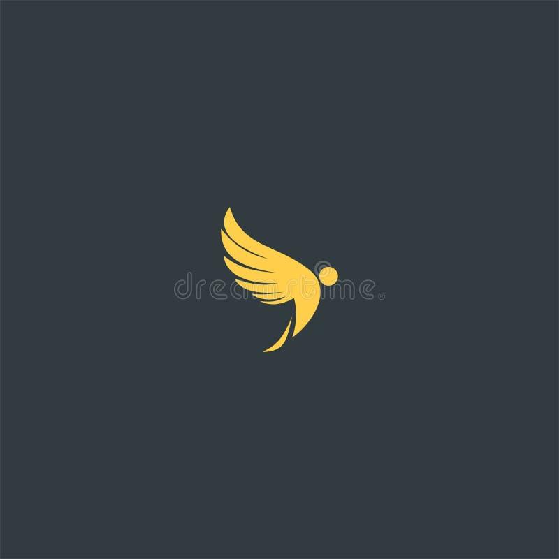 Ala con progettazione elegante di logo di colore dell'oro illustrazione vettoriale