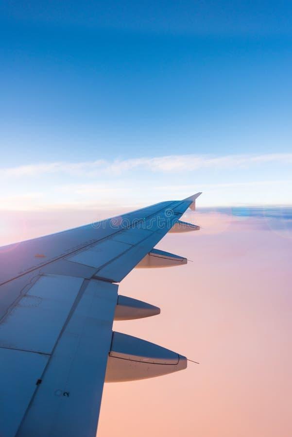 Ala del aeroplano en fondo azul y rosado del cielo fotos de archivo libres de regalías