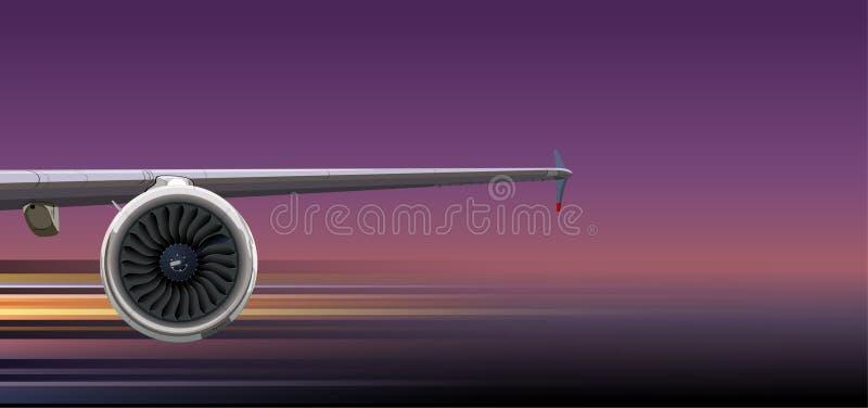 Ala dell'aereo di linea con la turbina su fondo scuro illustrazione vettoriale